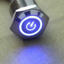 12V 16mm Blue LED Power Symbol Angel Eye Push Button Metal ON/Off Toggle Switch