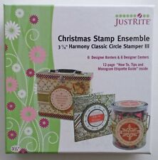 """JustRite Christmas Stamp Ensemble *6 borders & centers*Fits 3 1/4"""" Stamper * NEW"""