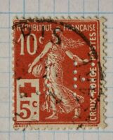 France sc#B2 semi postal used perfin hole TH T.H. Co ownership