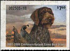 CALIFORNIA #15  2007 STATE UPLAND GAME STAMP CALIFORNIA QUAIL/DOG