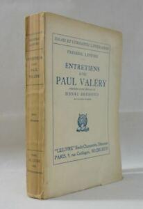 EO Entretiens avec Paul VALERY - Frédéric Lefèvre 1926 essais littéraires Livre