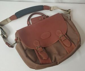 L.L. Bean Green Canvas & Brown Leather Shoulder Messenger Computer Bag USA