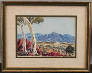 Antique Aboriginal OSCAR NAMATJIRA Australia Landscape Watercolor Painting, NR