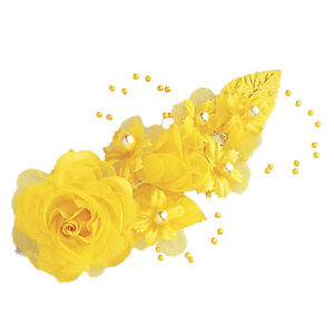 """3 dark yellow Silk Pearl & organza flower  Corsages 5""""x 2.5 with pearl pin"""