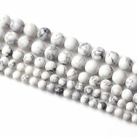 Natural White Turquoise Round Gemstone Loose Spacer Charms Beads 4/6/8/10/12 MM
