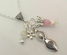 fertility and love healing charm necklace gemstones moonstone rose quartz pearl