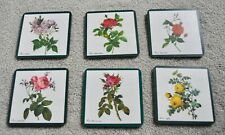 Vintage Set of 6 Schuberth Drink Coasters Depicting Different Roses, with Case