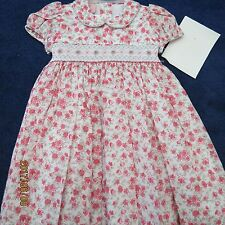 Will'beth girls dress size 4T,pink and silver floral. Smocking new w/tags