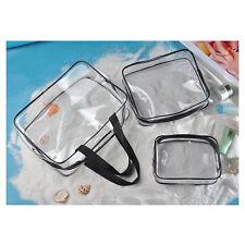 3Pcs Cosmetic Makeup Toiletry Clear PVC Travel Wash Bag Holder Pouch Set Kit CC