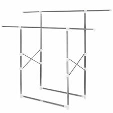 Mobile Double Clothes Rack Garment Hanging Rail Metal Storage Stand Foldable New