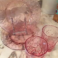 Morgantown Crinkle Glass Pink Set Of Four Vintage Elegant Pattern