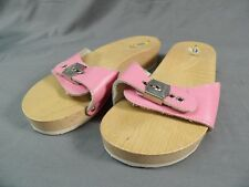 Dr. Scholl's Size 6 Women's Sandals Shoes Wood and Leather Vintage Italy Pink