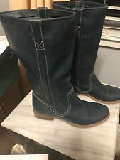Vera Gomma Leather Blue Boots 39