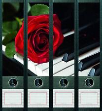 File Art 4x Ordner-Etiketten ROSE & PIANO Ordner RÜCKENSCHILDER Sticker 441