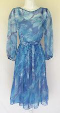 VINTAGE 1960s 70s MOD DRESS SLIP JANE ANDRE CALIFORNIA BLUE FLOWERS BELT SHEER
