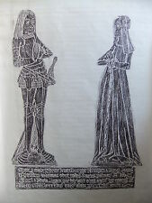 Brass rubbing FLOORE NORTHAMPTONSHIRE, THOMAS & AGNES KNARESBURGH 1498 .. 26/1