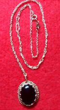 Vintage ladies 14K yellow gold Victorian Necklace With Black Coral Pendant