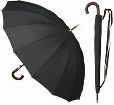 "46"" Auto-Open 16-Panel Black Doorman Umbrella - RainStoppers Rain/Sun UV"