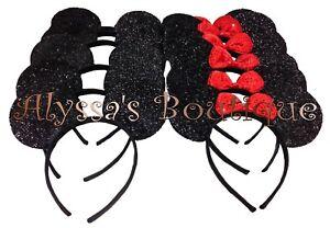 20 pc Minnie Mouse Ears Headbands Black Shiny Red Bow Cute Mickey Birthday Party