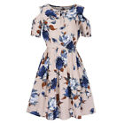 Womens Floral Summer Beach Holiday Dark Blue Skater Floral Dress Plus Size 8-26