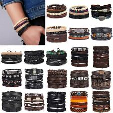 6Pcs/Set Multilayer Leather Bracelet Men's  Women Wristband Bangle Jewelry Set