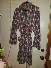 OSCAR DE LA RENTA Red Plaid cotton Belted Robe Medium womens