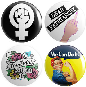 4 x Feminism BUTTON PIN BADGES 25mm 1 INCH Feminist Women's Rights Political