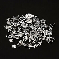 48 Mix Bohemia Leaves Tibetan Silver Cross Charms Pendant Friendship Jewelry DIY