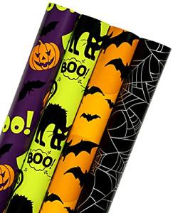 RUSPEPA Wrapping Paper Roll - Colorful Halloween Wrap Design - 4 Rolls - 76 cm x