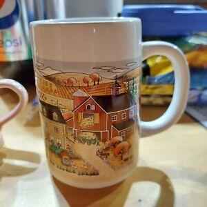 Mug Cup Vintage Otagiri Embossed Fall Harvest Farm Home Ceramic EUC Hard To Find