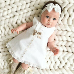 Summer Baby Girls Sleeveless White Dress Dresses Bow Headband Suit Outfits T8£