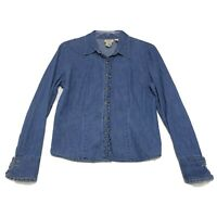 St. John's Bay Blue Denim Blouse Womens L Large Ruffle Placket LS Button Front