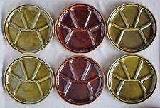 6 Fondue-Teller aus Keramik in rot + grün von Gien France