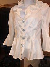 f1c6615e80a6 Gorgeous Elegant CHETTA B Evening White Blouse Top W/ Sheen Rhinestone  Buttons 6