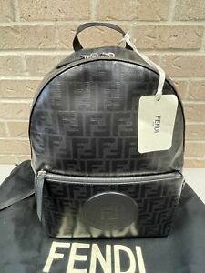FENDI Zucca Spalmati 1974 Backpack Black with Logos *NWT FREE PRIORITY SHIPPING