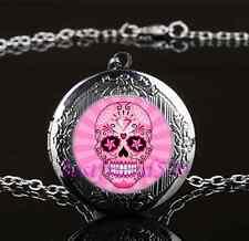Sugar Skull Photo Glass Gun Black Chain Locket Pendant Necklace