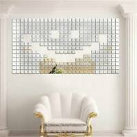 100pcs 3D Wall Stickers Square Mirror Mosaic Tile DIY Decal Home Room Decor