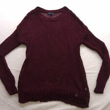 New American Eagle AEO Womens Maroon Red Crochet Knit Crewneck Sweater Sz XS