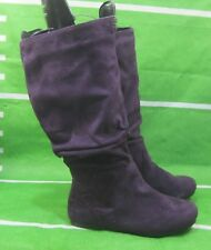 NEW LADIES purple Flat Slouch Round Toe Sexy Knee Boots Size 5