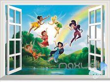 Tinker Bell & 5 Fairies Rainbow Lake 3D Window Wall decor Sticker Kids Nursery