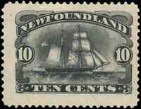 Newfoundland #59 mint XF+ NG JUMBO 1894 Schooner 10c black JUMBO CV$200.00
