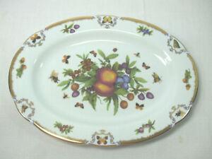 """Victoria Royals Serving Platter Fruits Butterflies Gold Scalloped Trim 14"""" x 10"""""""
