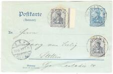 Germany REPLY POSTAL CARD-HG:60r-UPRATED Sc#52(x2)-PROPERLY USED FROM