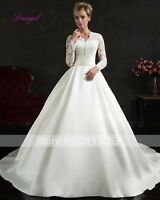 V-Neck Long Sleeve white/ivory wedding dress custom size 2-4-6-8-10-12+++++