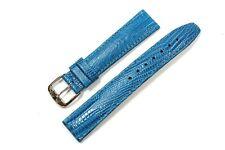 Jacques Lemans Ersatzband Uhrenarmband Leder blau 18mm Steg Eidechsen-Struktur