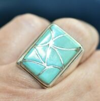 Vintage Signed Emma Bonney Sterling Silver Navajo Inlay Turquoise 7 Mens Ring