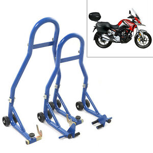 Race Dept Motorcycle Front and Rear Paddock Stand with V-Adapter Combo Pack