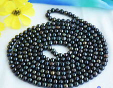 """natural freshwater pearl necklace 50"""" New 7-8mm long multicolor black green"""