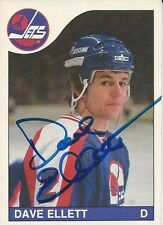 Signed Dave Ellett Winnepeg Jets 85-86 O-PEE-CHEE  Hockey Card #185