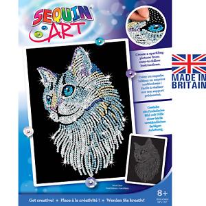 Sequin Art White Cat - DIY craft set from the Blue Range 1711